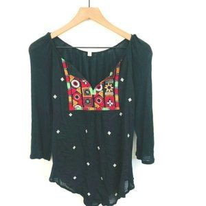 TINY Anthropologie Black Embroidered Top Small